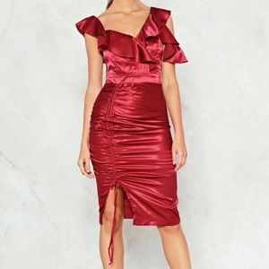 'NASTY GAL' RUFFLE RUSHED SATIN RED DRESS SIZE 6